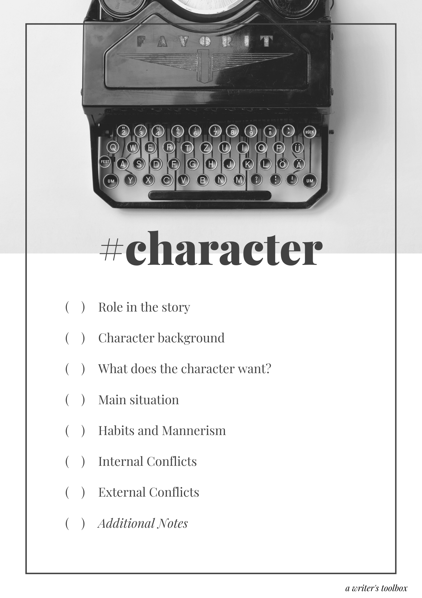 Character Sketch Checklist